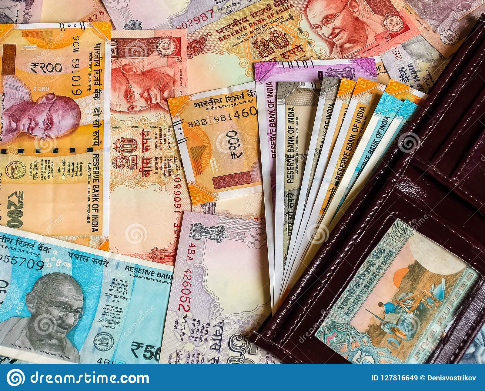 Wallet With Indian Rupees, Old And New Notes  Stock Image
