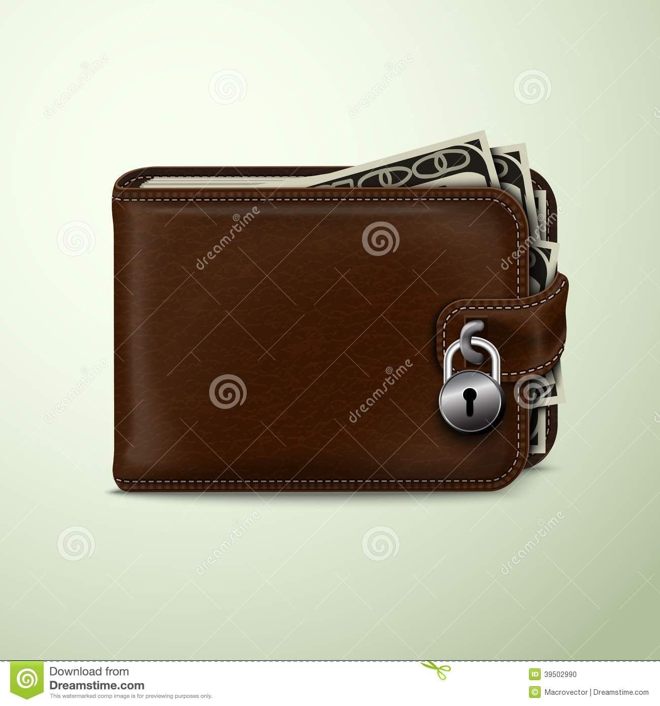 Wallet locked with padlock