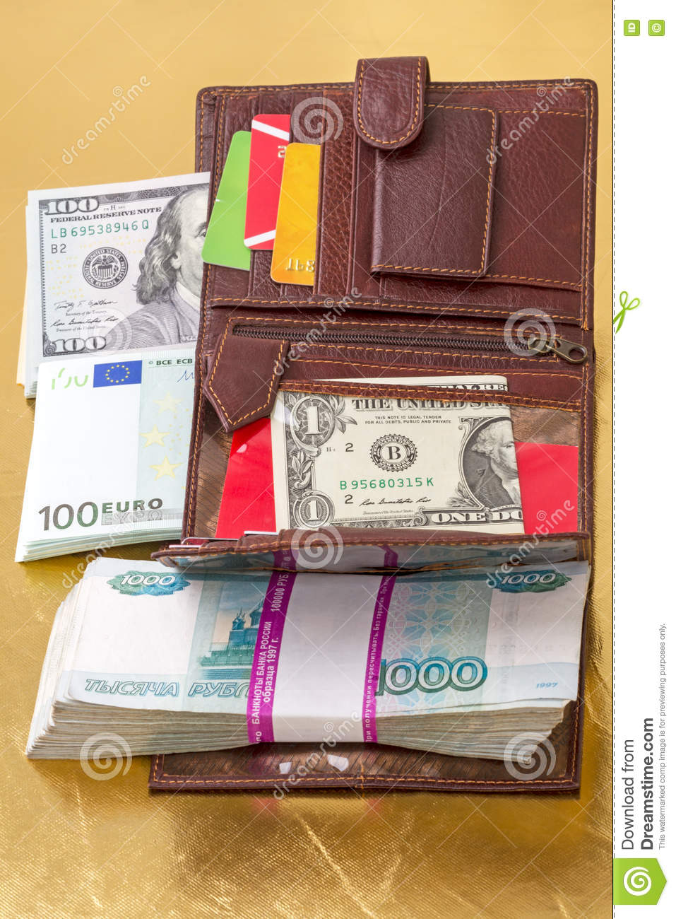 Wallet with paper money and credit cards