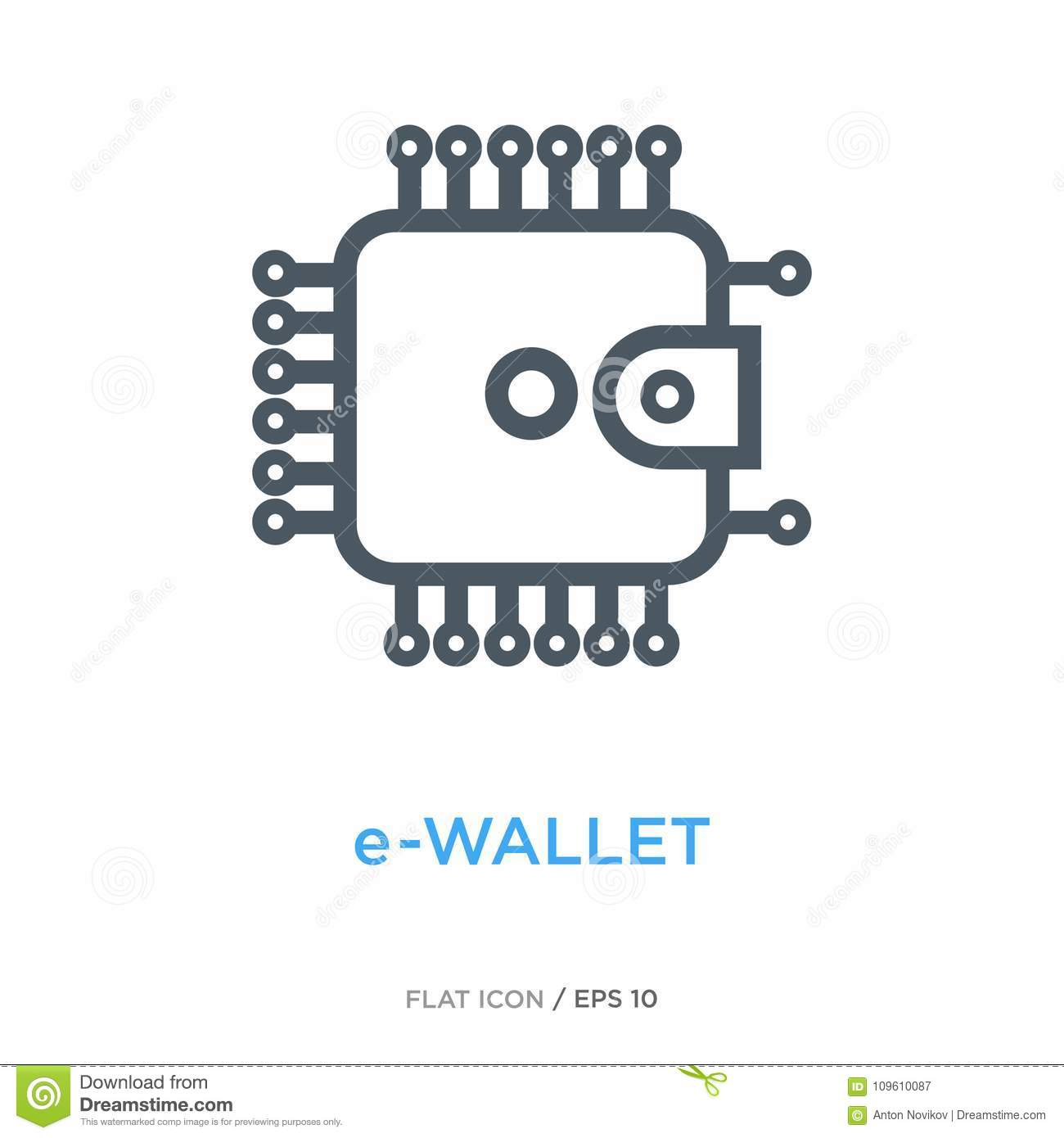 E Wallet Line Flat Icon Stock Vector Illustration Of Microchip