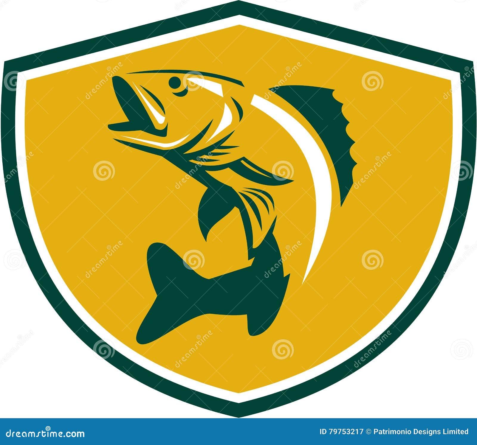 Freshwater fish jumping - Walleye Fish Jumping Crest Retro