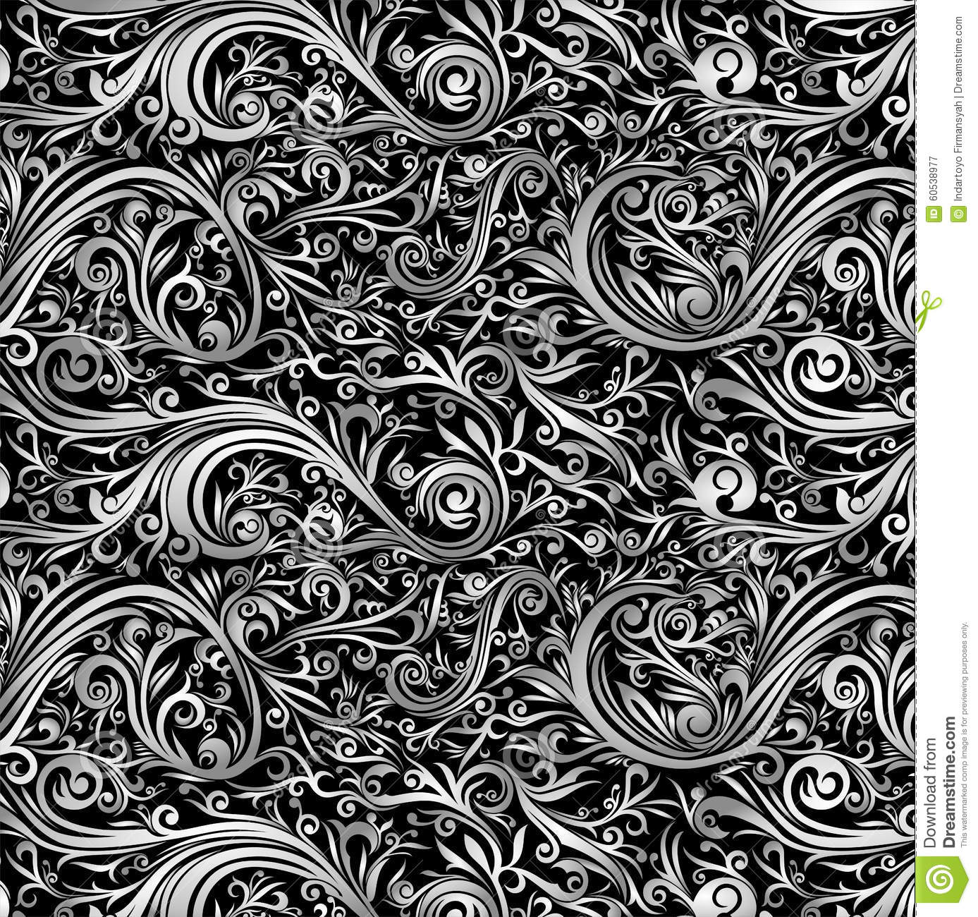 Batik ornament or abstract shapes with swirl for background, wallpaper ...