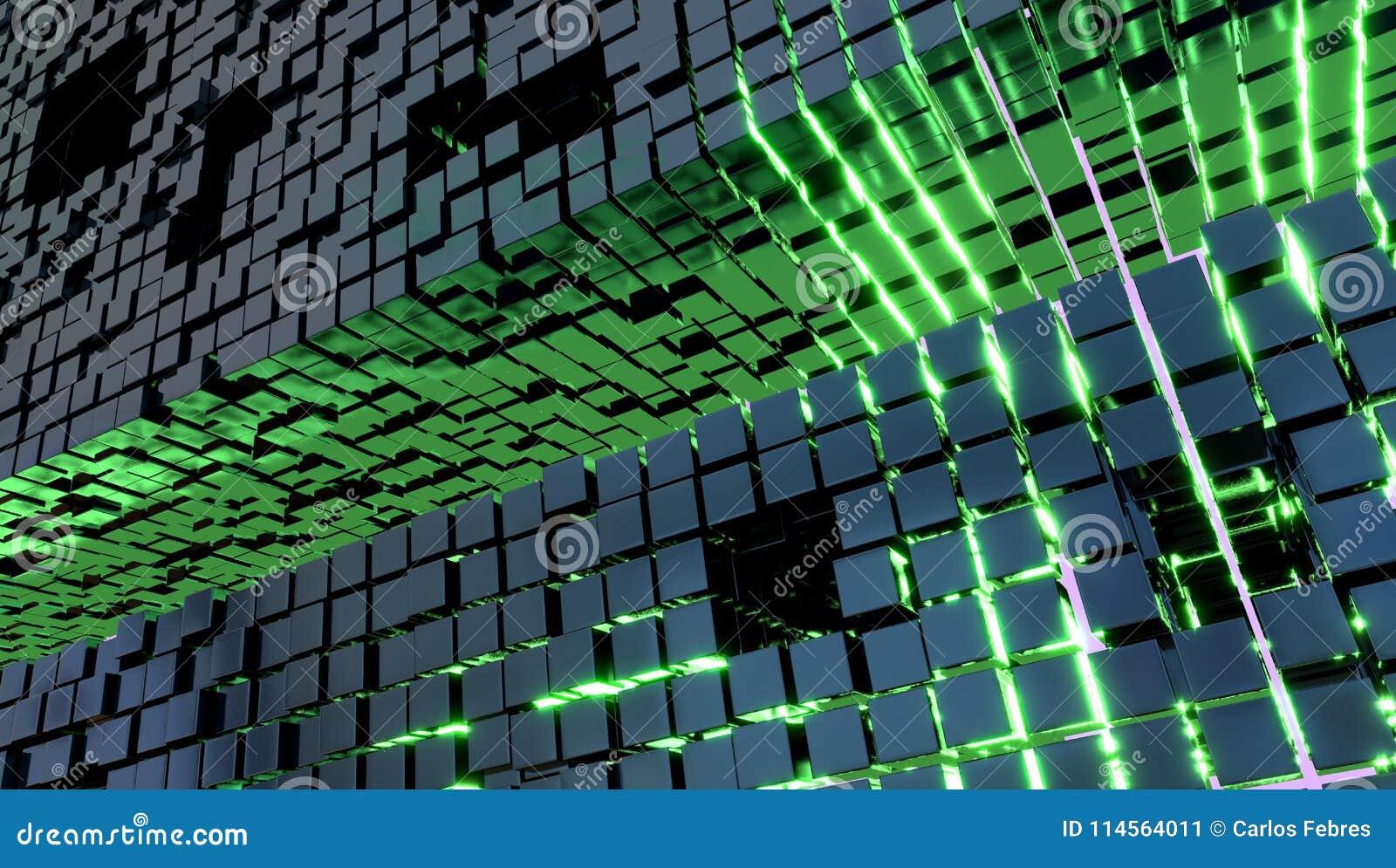 Wallpaper avec des cubes en métal et un feu vert, l illustration 3d