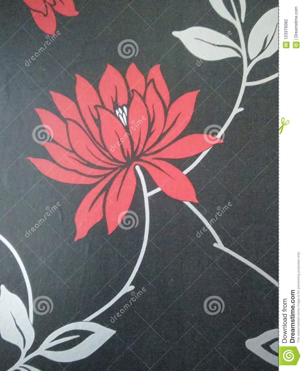 Wallpaper In The Background Red Flowers On A Black Silver Leaflets Wall