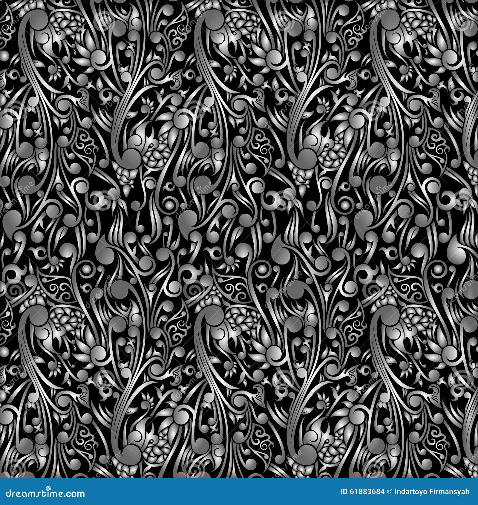 Wallpaper Batik Floral With Black Swirl Shape Stock