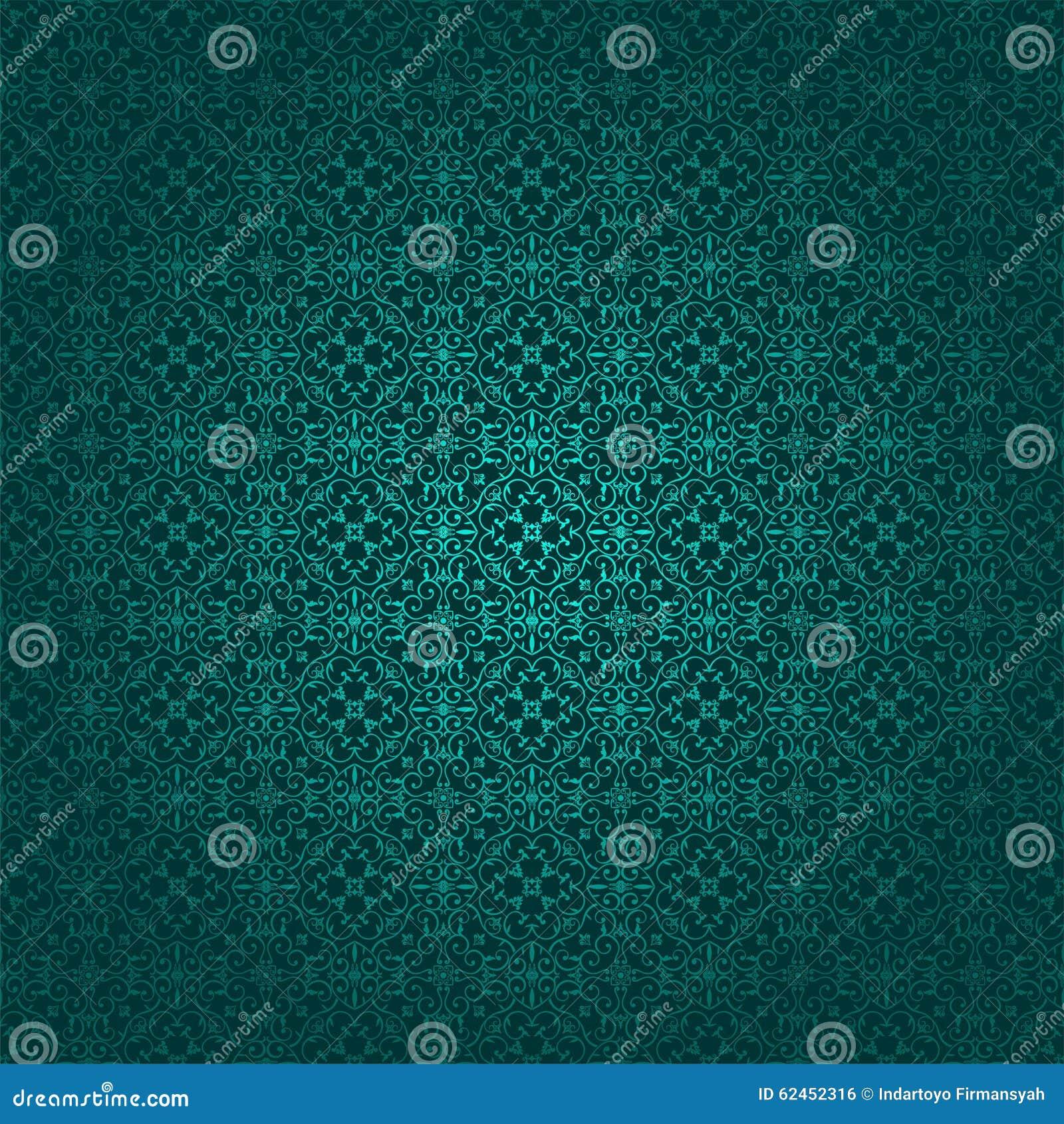 Wallpaper Batik Swirl Square Blue Tosca And Dark Blue