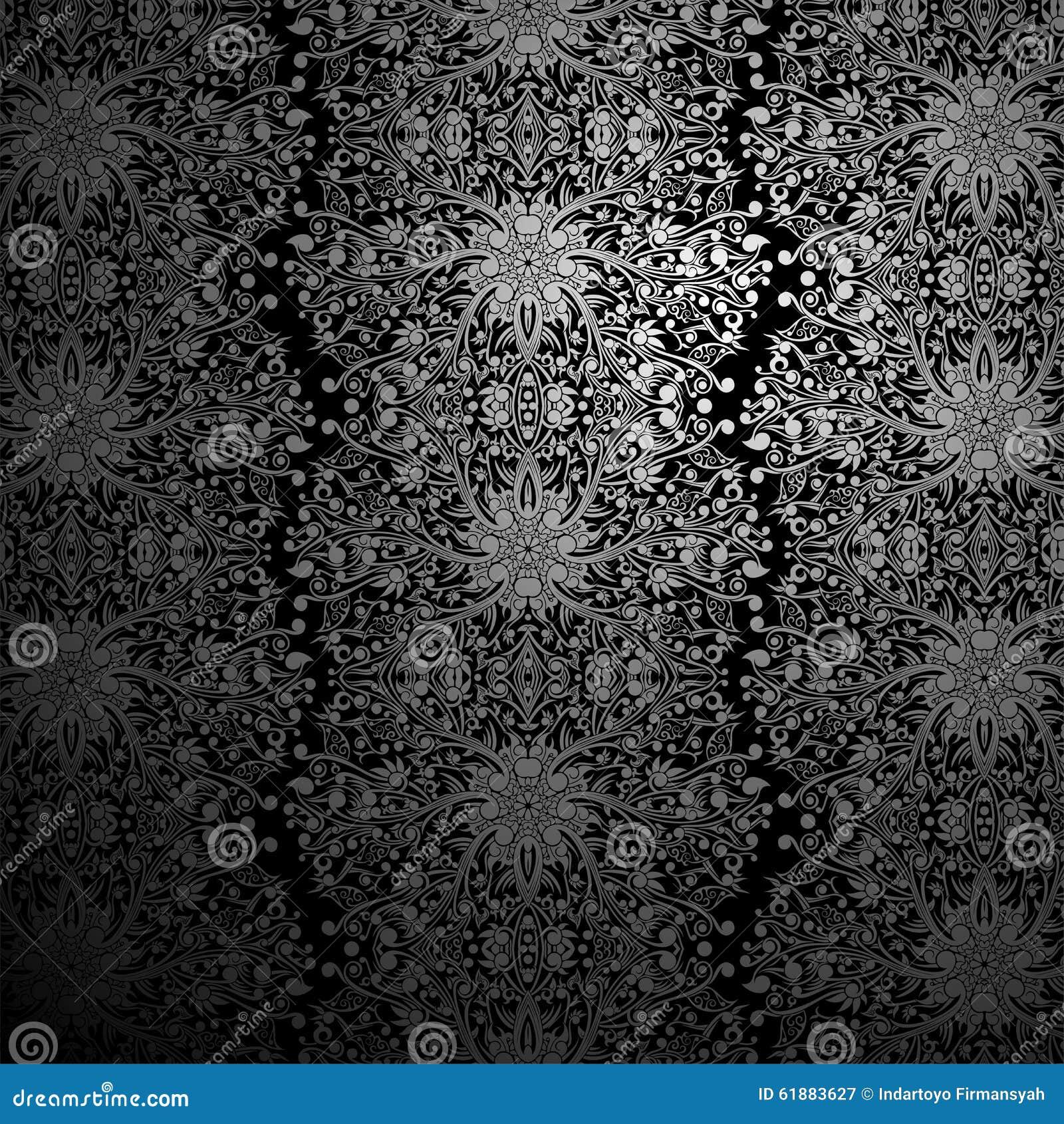 Wallpaper Black And Silver Swirl Abstract Batik Stock