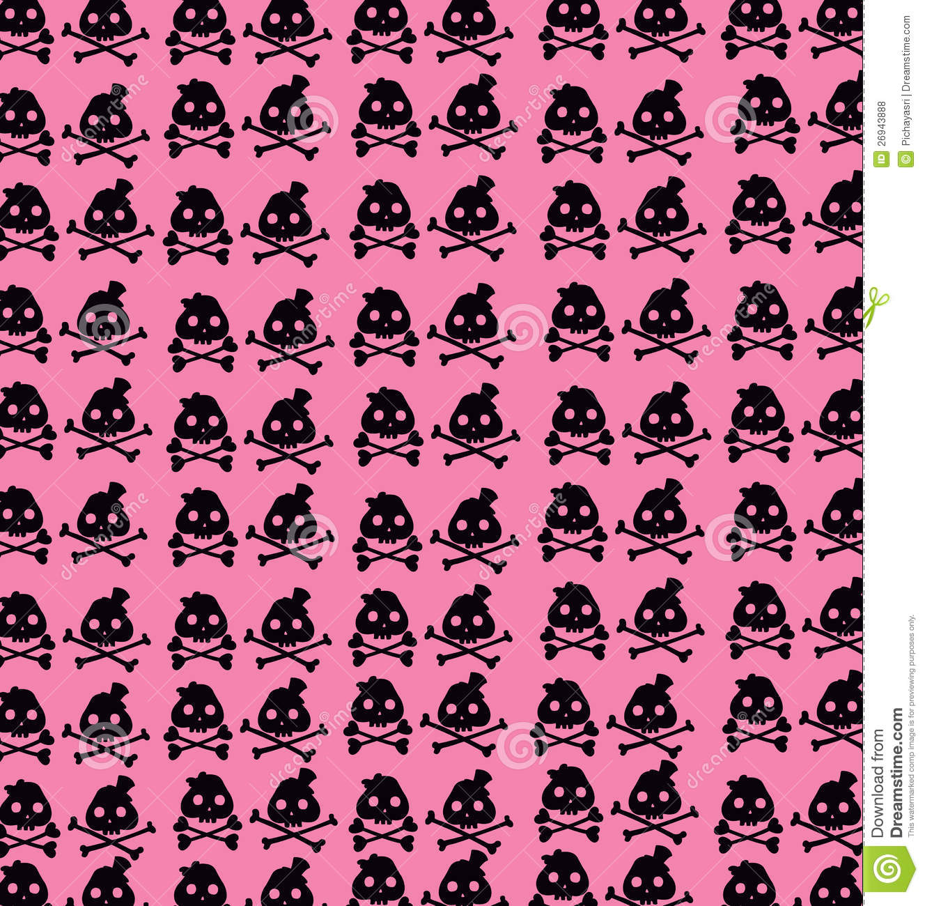 Wallpaper Black Skulls On Pink Background Stock Vector