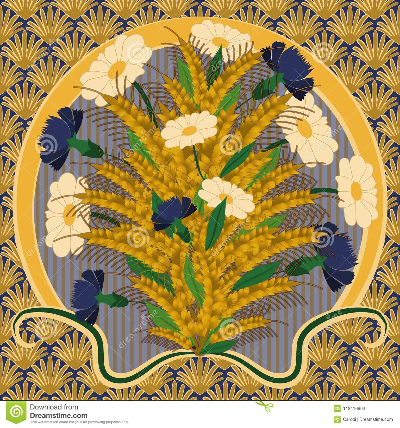 Wallpaper With Camomile And Cornflower In Art Nouveau Style Stock