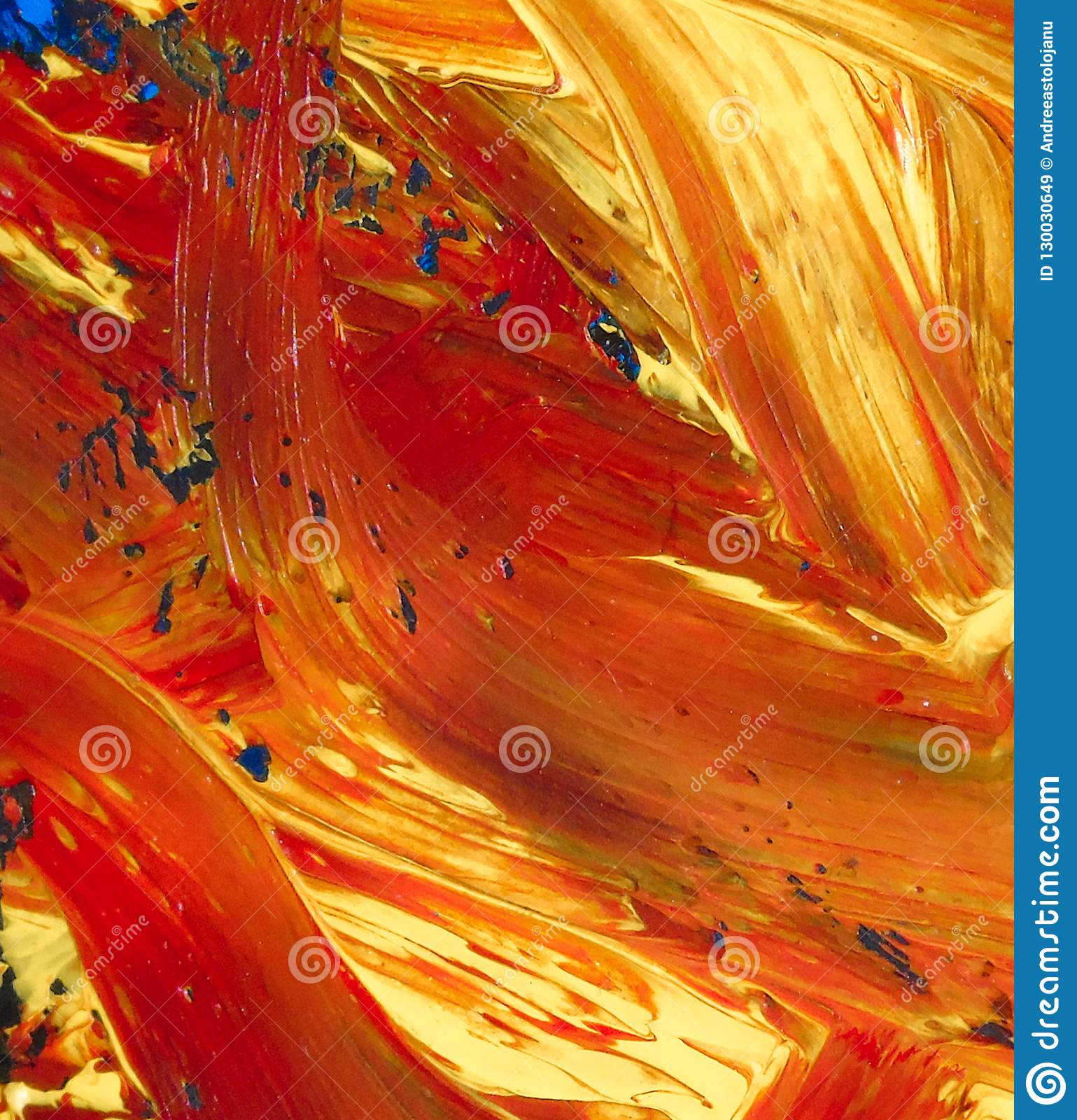 Closeup Of Abstract Oil Painting Of Orange And Blue On Canvas Background Of Colors Blurs Fire Volcanic Lava Stock Image Image Of Water Color 130030649
