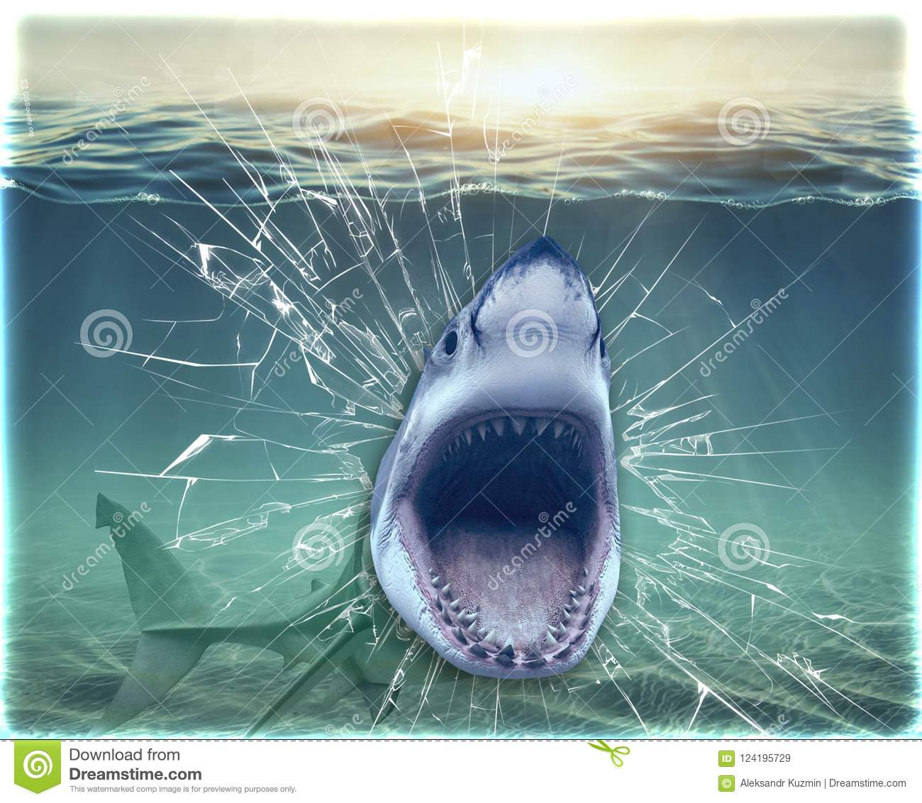 Wallpapers Shark Broke The Aquarium And Jumps Out Of It 3d