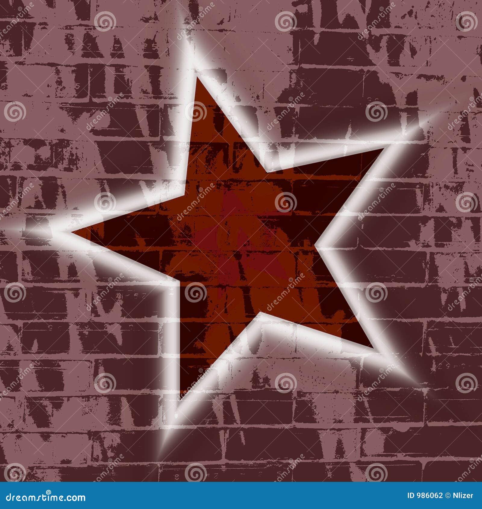Wallpaper för vägg för stjärna för bakgrundstegelstengrunge
