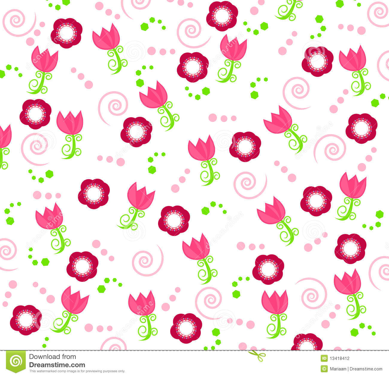 Red flowers border vector stock image - Wallpaper With Flower Ornaments Stock Photography Image
