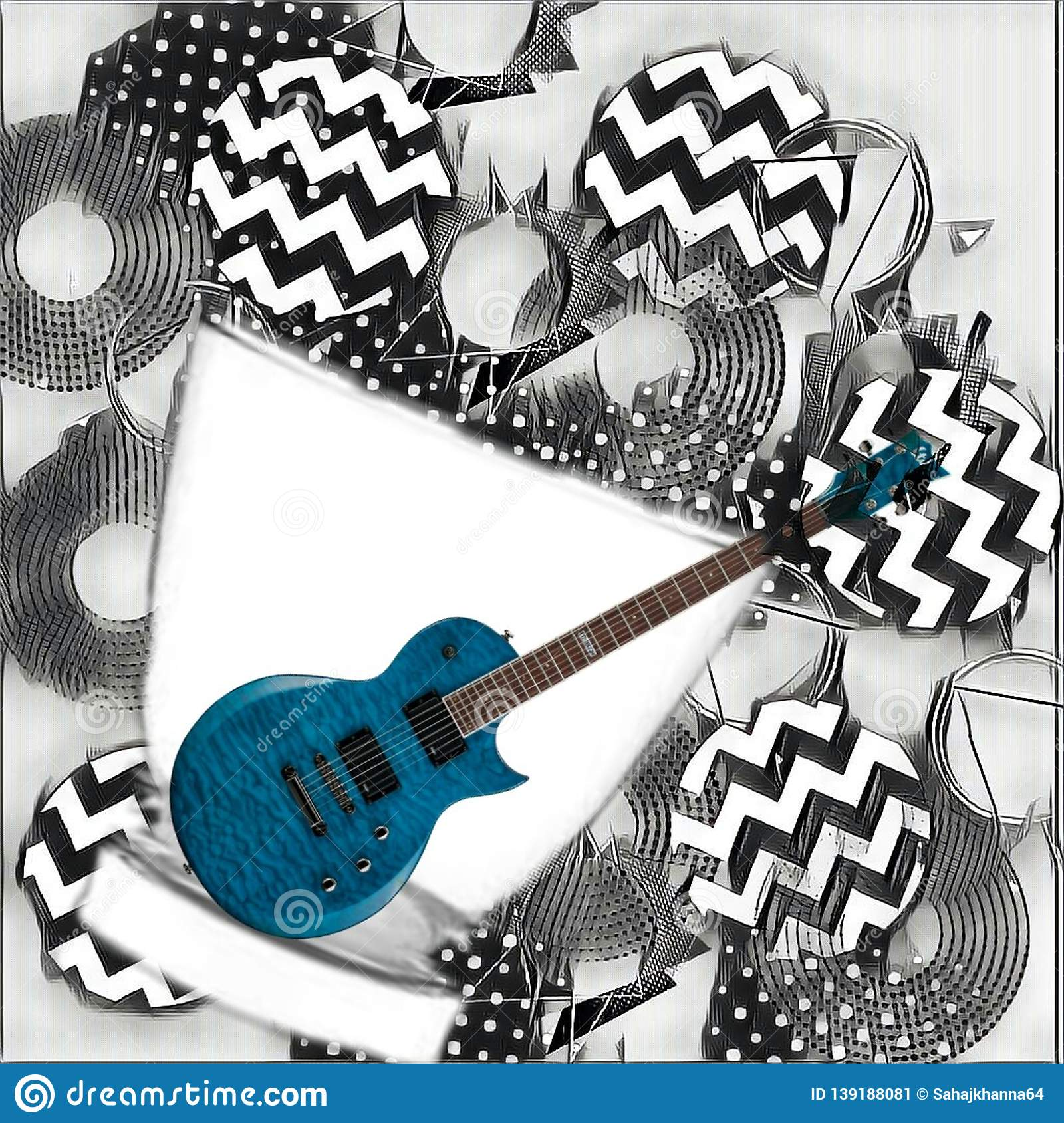 Gitar Poster Illustrated Gitar Wallpaper Illustrate Stock