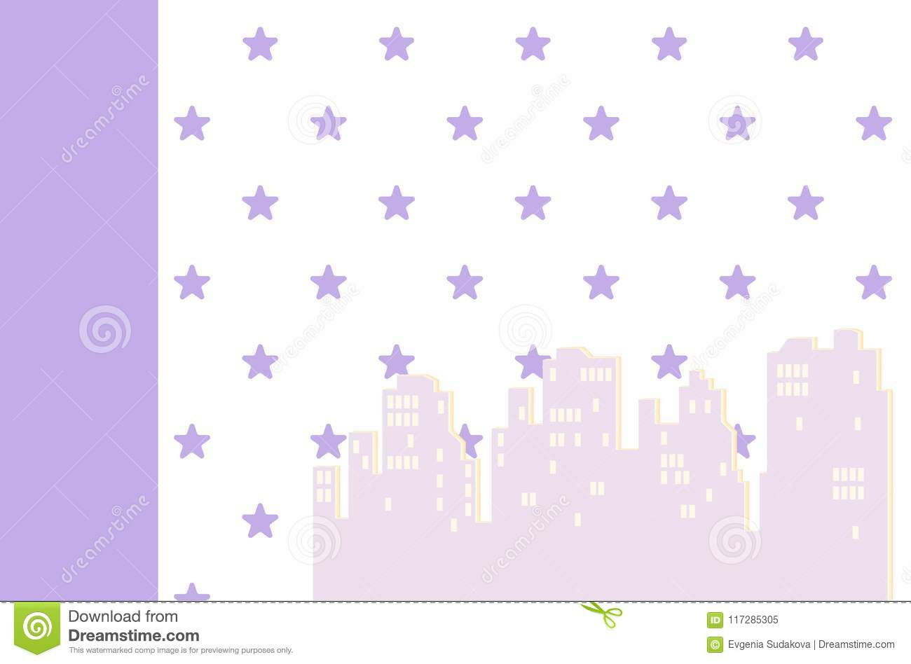 Wallpaper With Houses For A Child`s Room. Vector Illustration. Baby ...