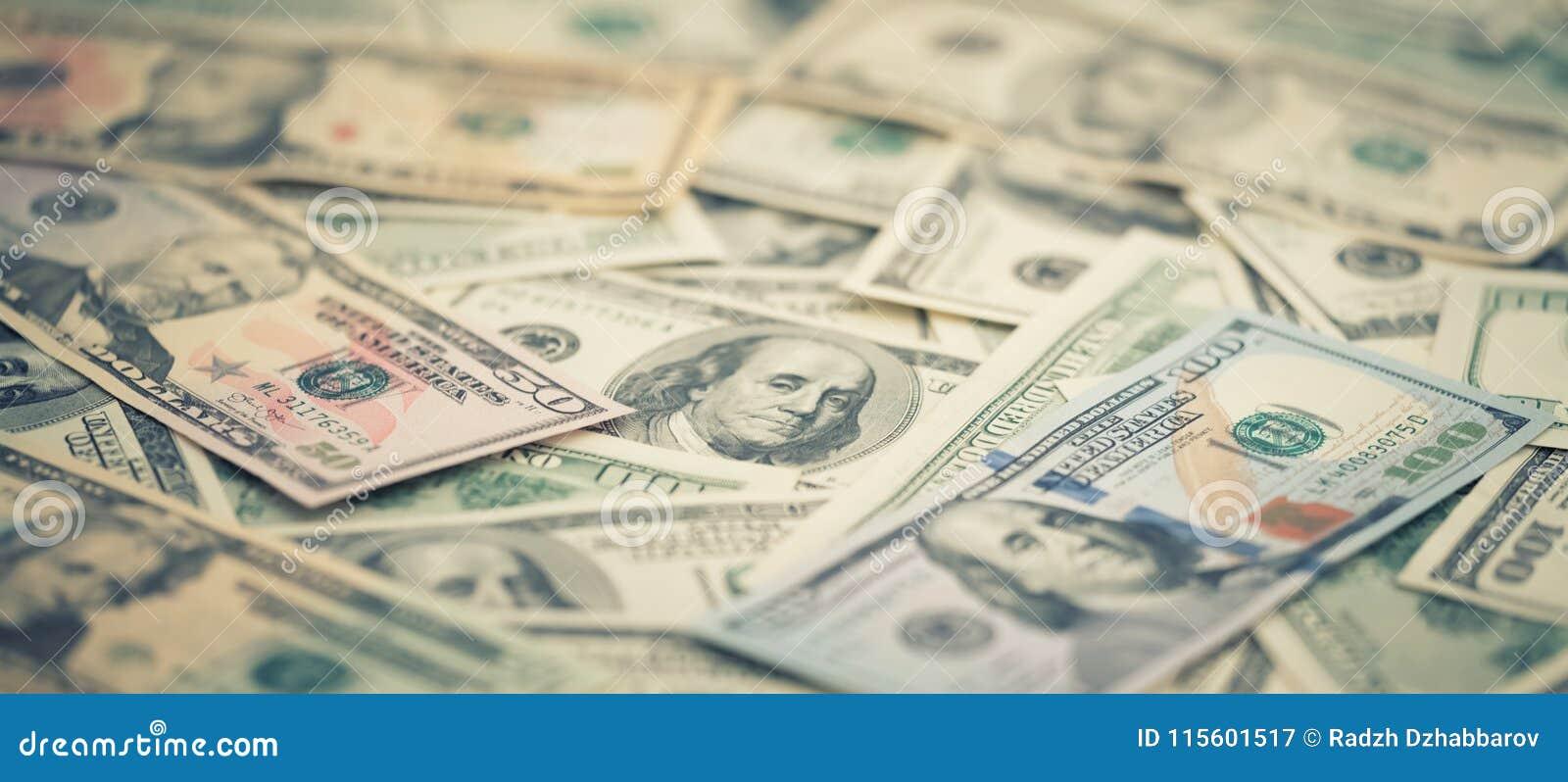 Wallpaper l argent américain 5,10, 20, 50, nouveau billet d un dollar de série de plan rapproché 100 Macro billet de banque des U