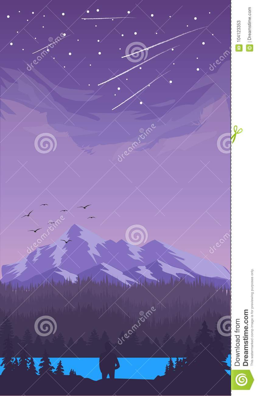 Wallpaper Mountain Handphone Stock Illustration Illustration Of