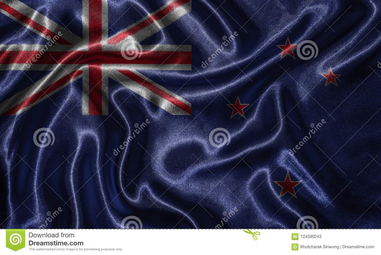 Wallpaper By New Zealand Flag And Waving Flag By Fabric Stock Image