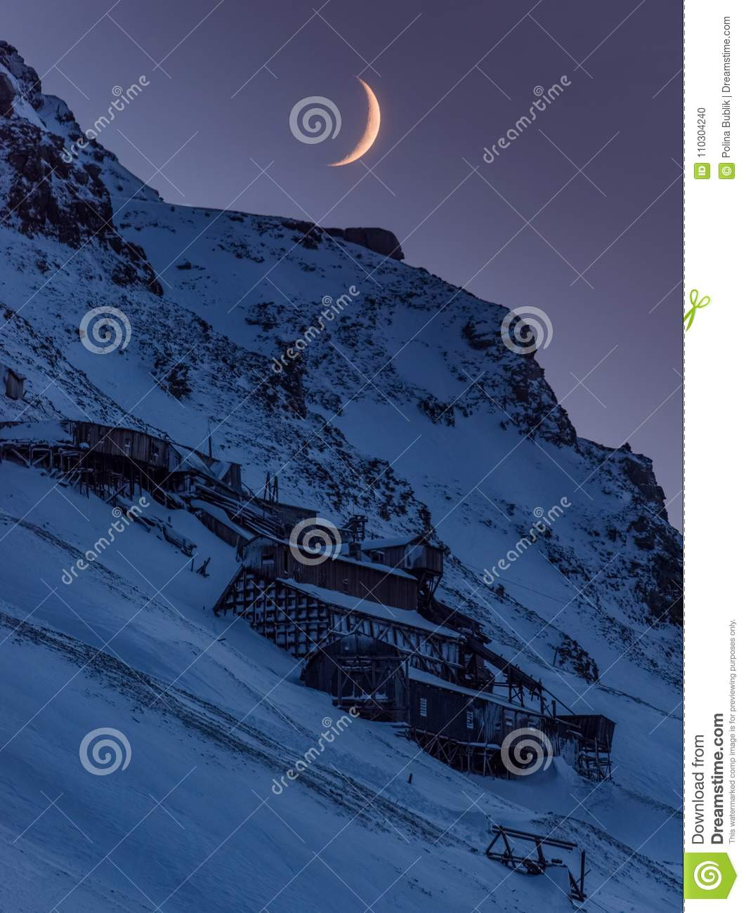 Wallpaper norway landscape nature of the mountains of Spitsbergen Longyearbyen big moon Svalbard polar night with arctic