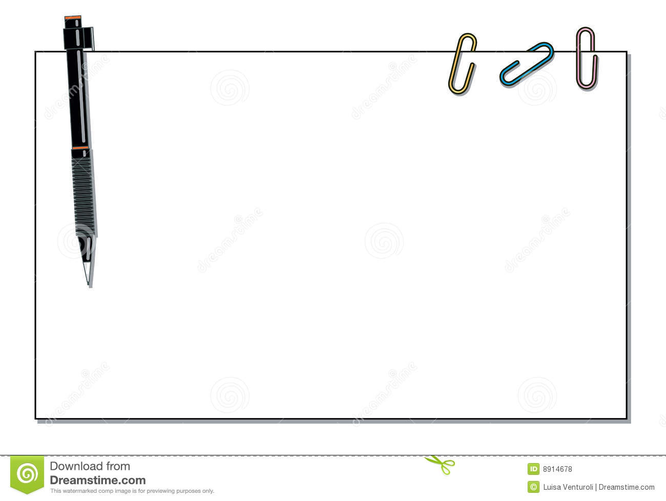 Wallpaper With Paper Pen And Paper Clips Stock Vector
