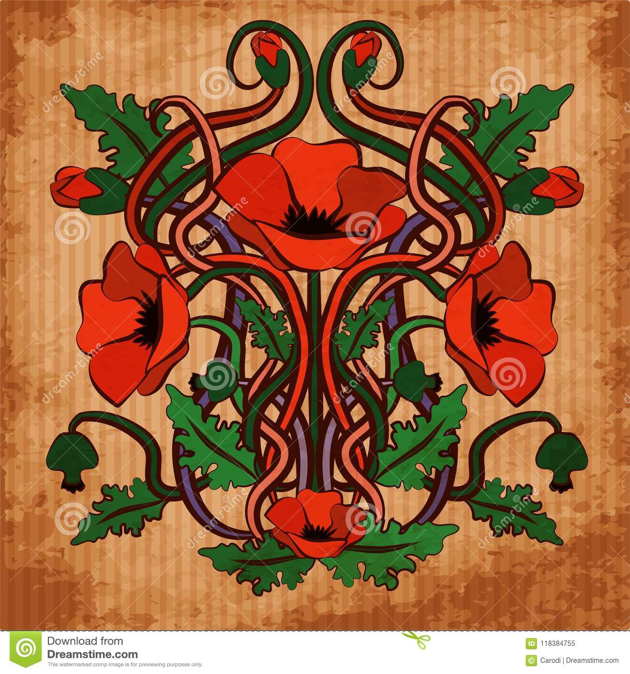 Fiori Liberty.Wallpaper With Poppy Flowers In Art Nouveau Style Stock Vector