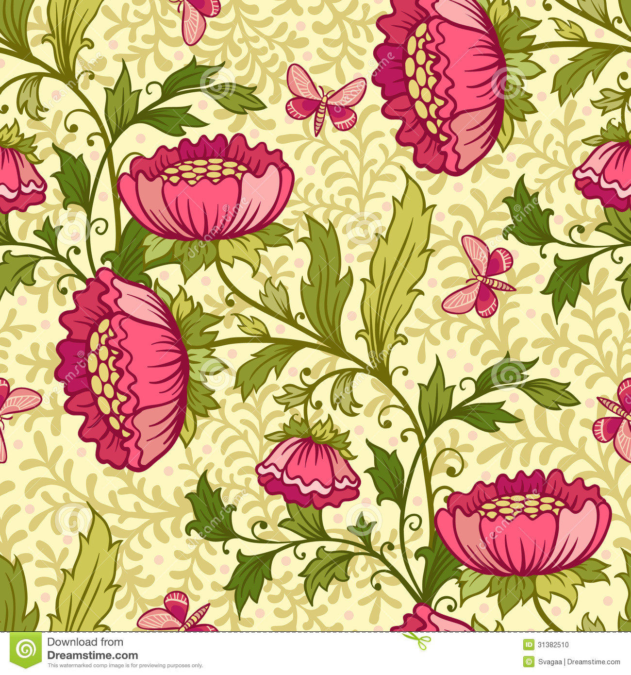 Wallpaper Seamless Vintage Flower Pattern Stock Photo