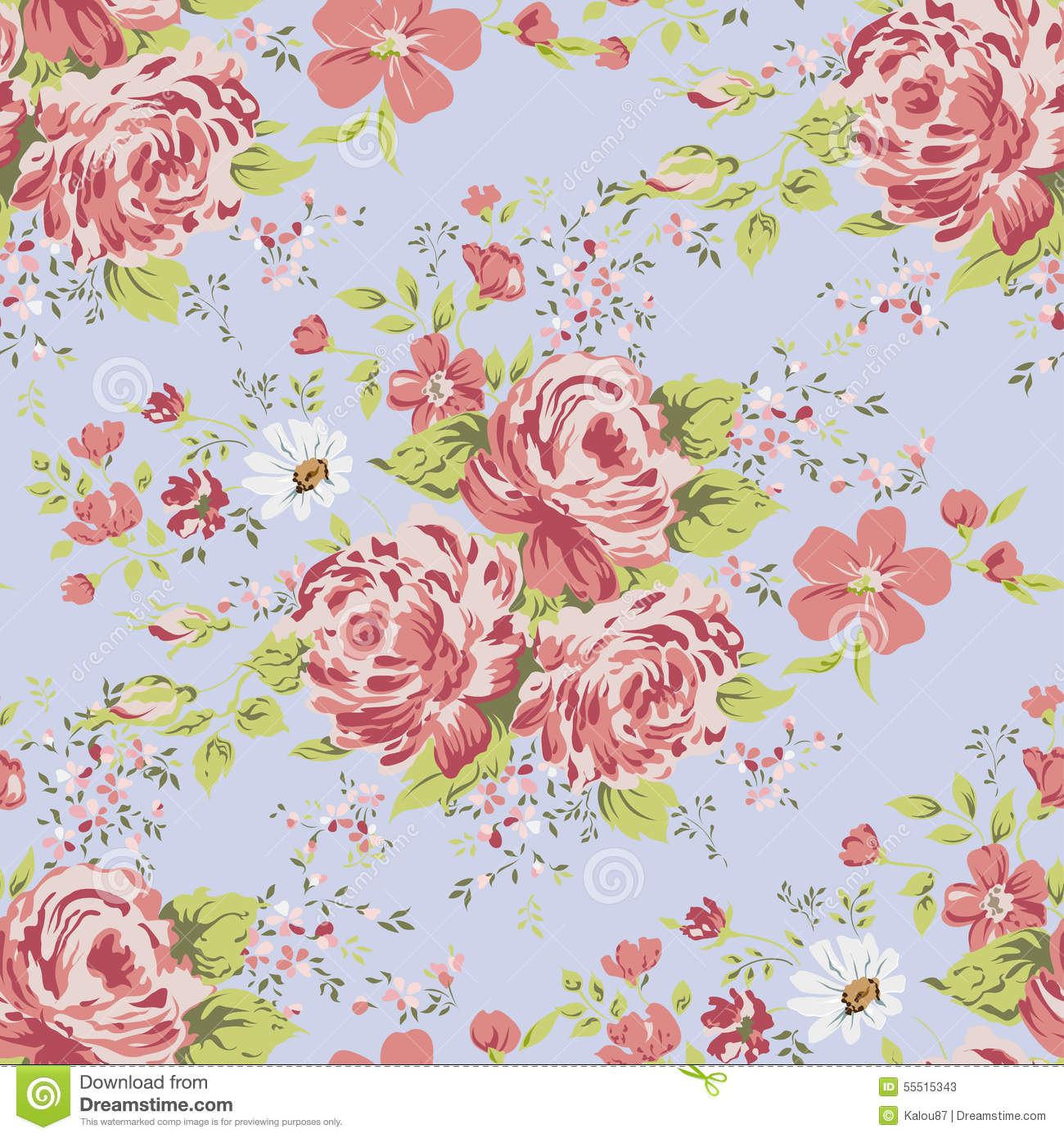 Wallpaper Seamless Vintage Pink Flower Pattern Stock Illustration