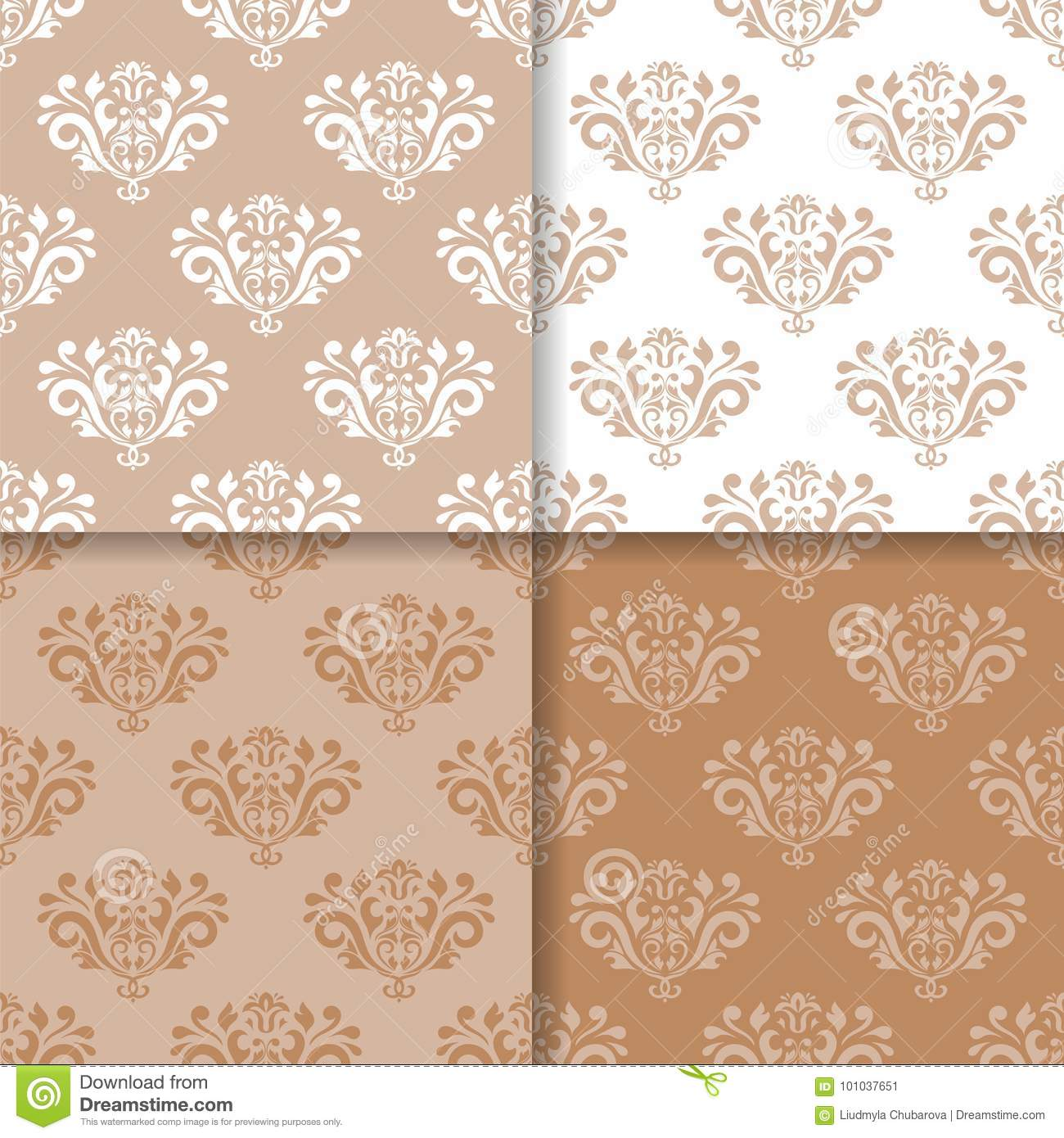 Wallpaper set of brown beige seamless patterns with floral ornaments