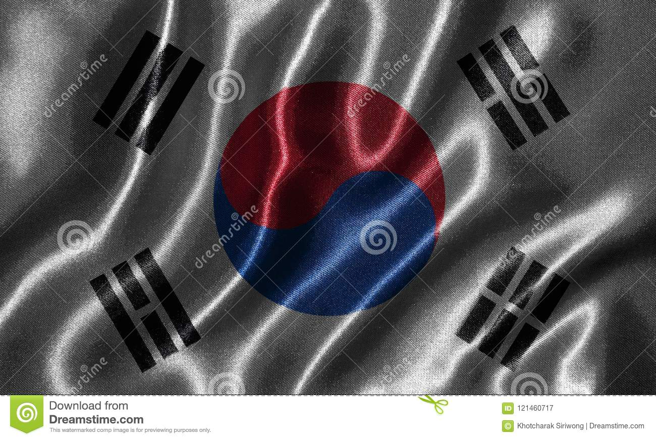 Wallpaper By South Korea Flag And Waving Flag By Fabric Stock Image