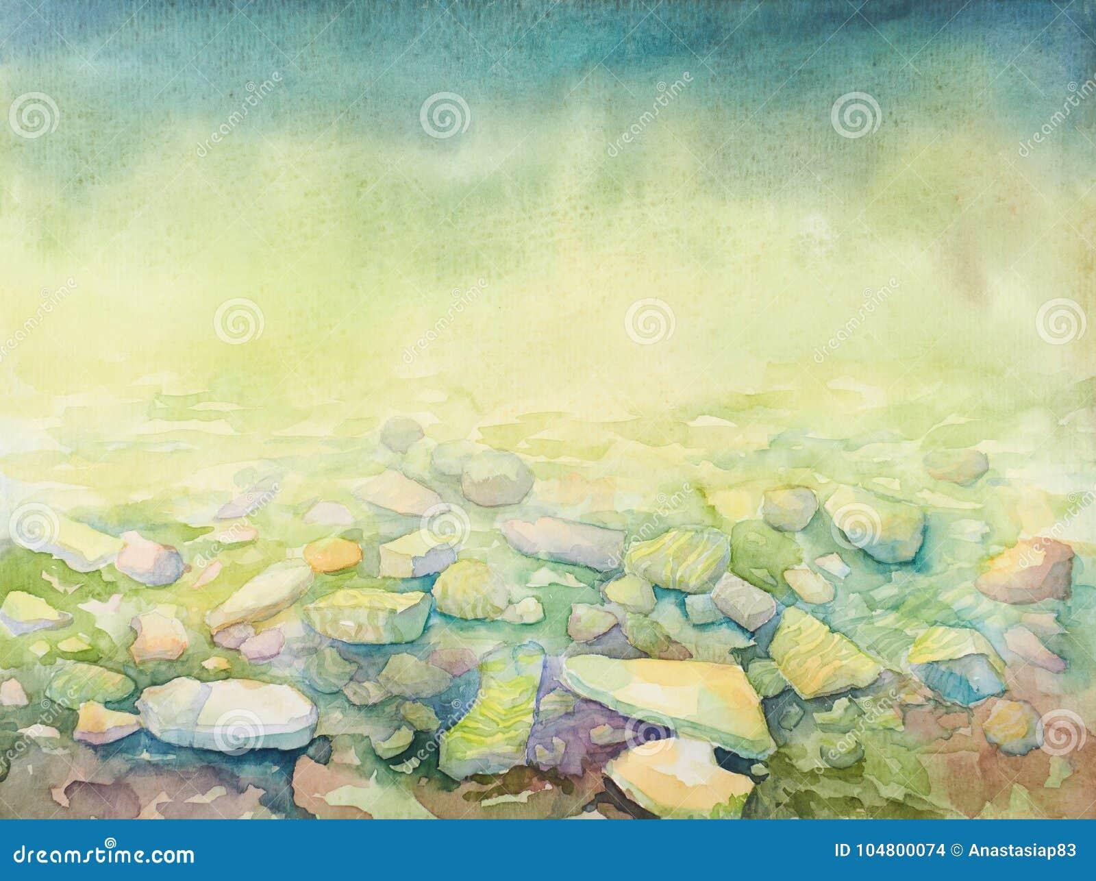 Hand drawn watercolor sea depth and beach shore pebbles