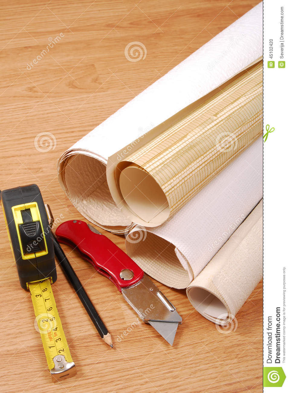 wallpaper and tools stock photo image 45102420