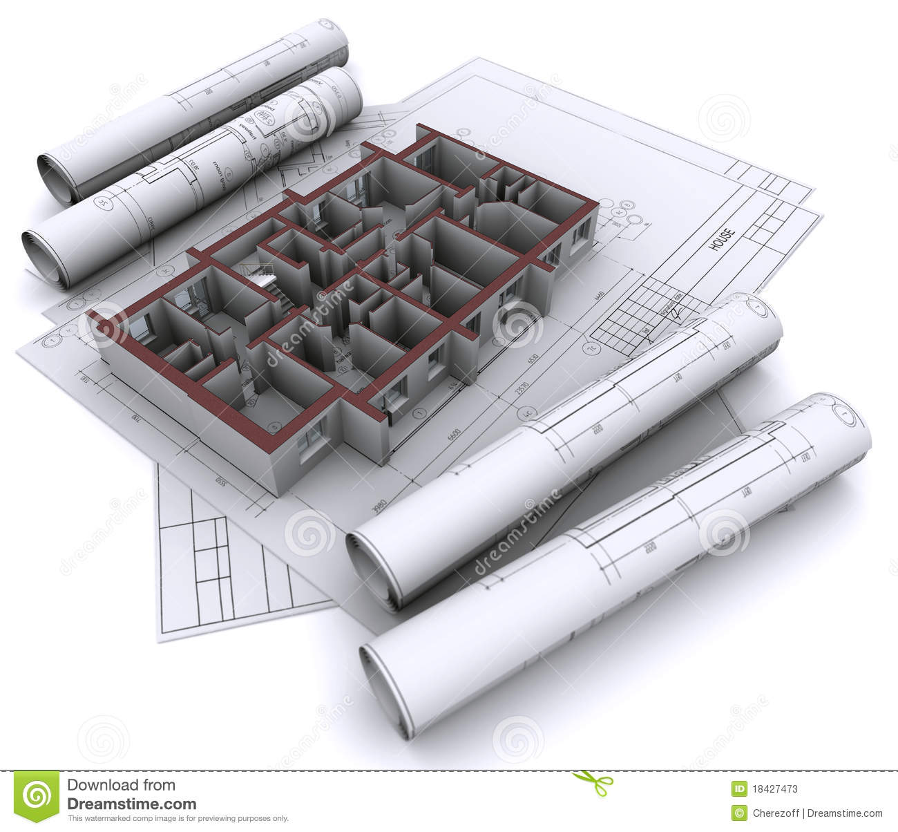 Walls On Construction Drawings Stock Illustration Image