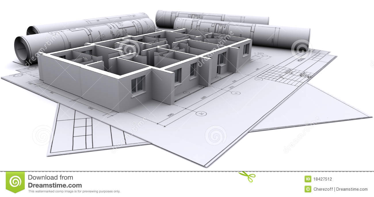 Walls on construction drawings stock illustration for Construction drawing