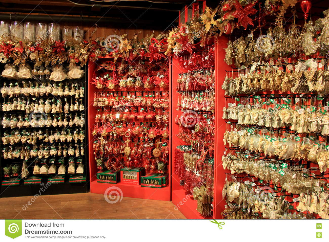 Walls covered with vast assortment of ornaments the for The christmas shop