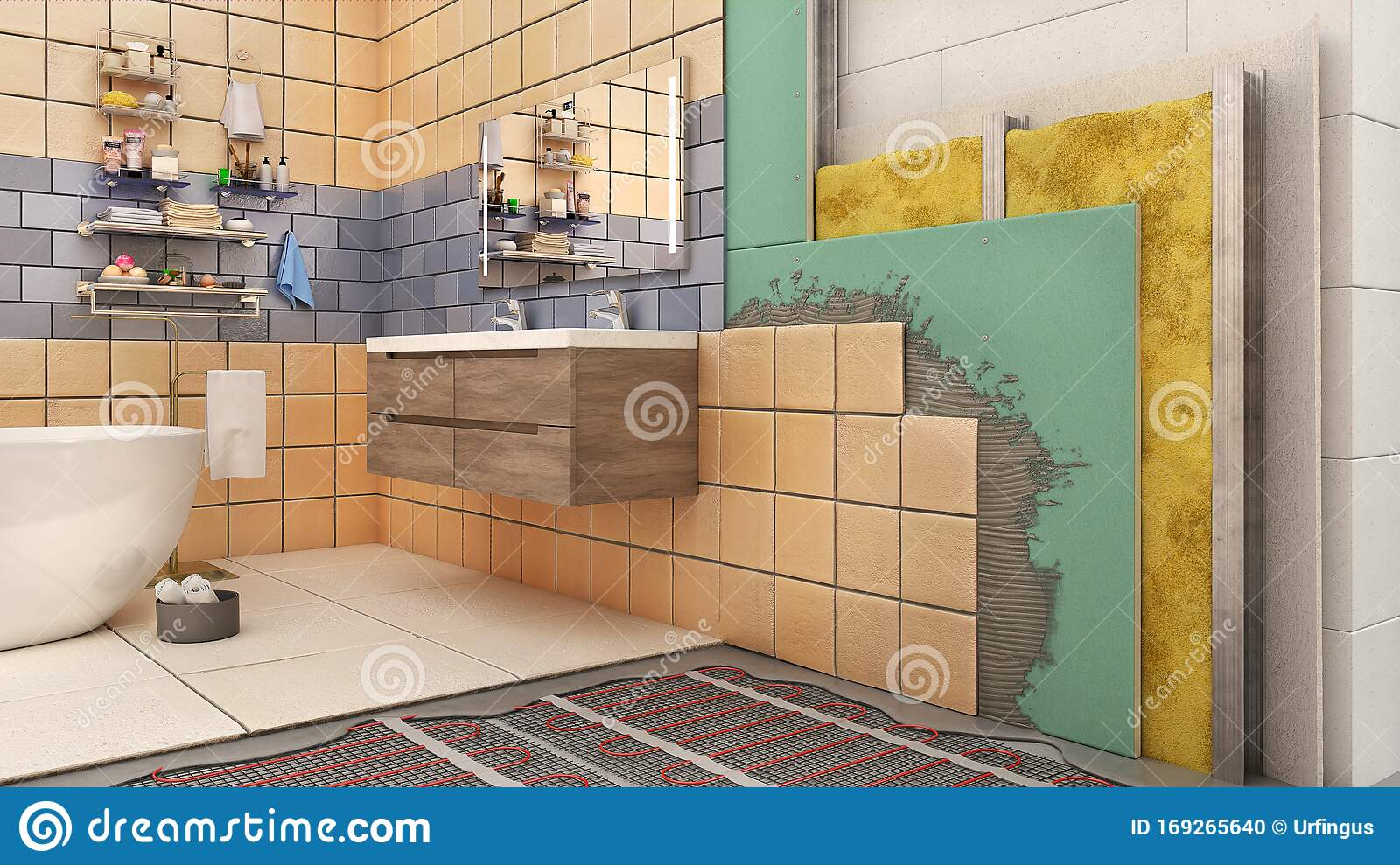 Walls And Floor Thermal Insulation In Bathroom Interior Stock