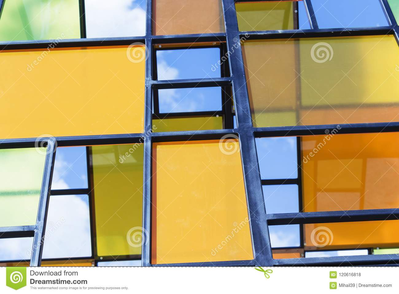 The Walls Are Made Of Multi-colored Panels, Modern Background. Stock ...