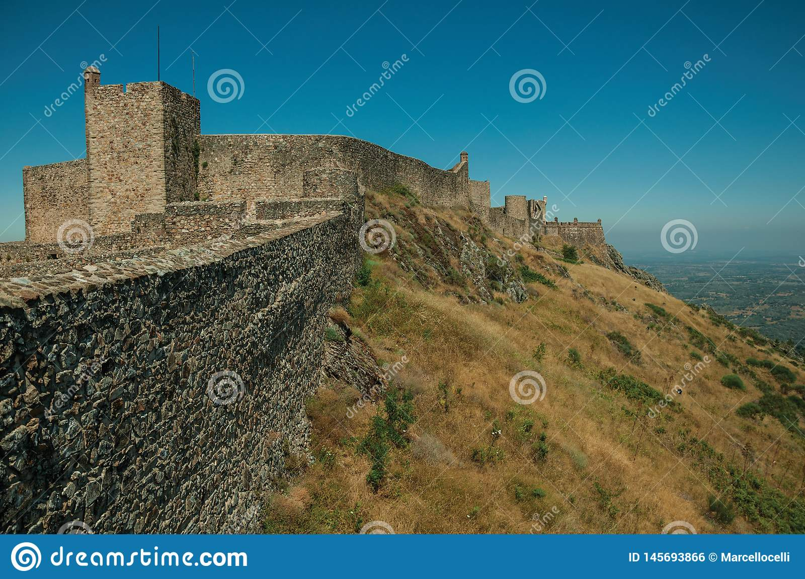 Walls and watchtowers over rocky ridge at the Marvao Castle