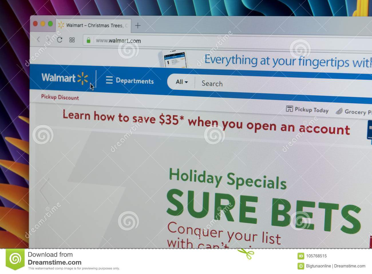 Walmart Homepage Website On Apple IMac Monitor Screen. Walmart Is An ...