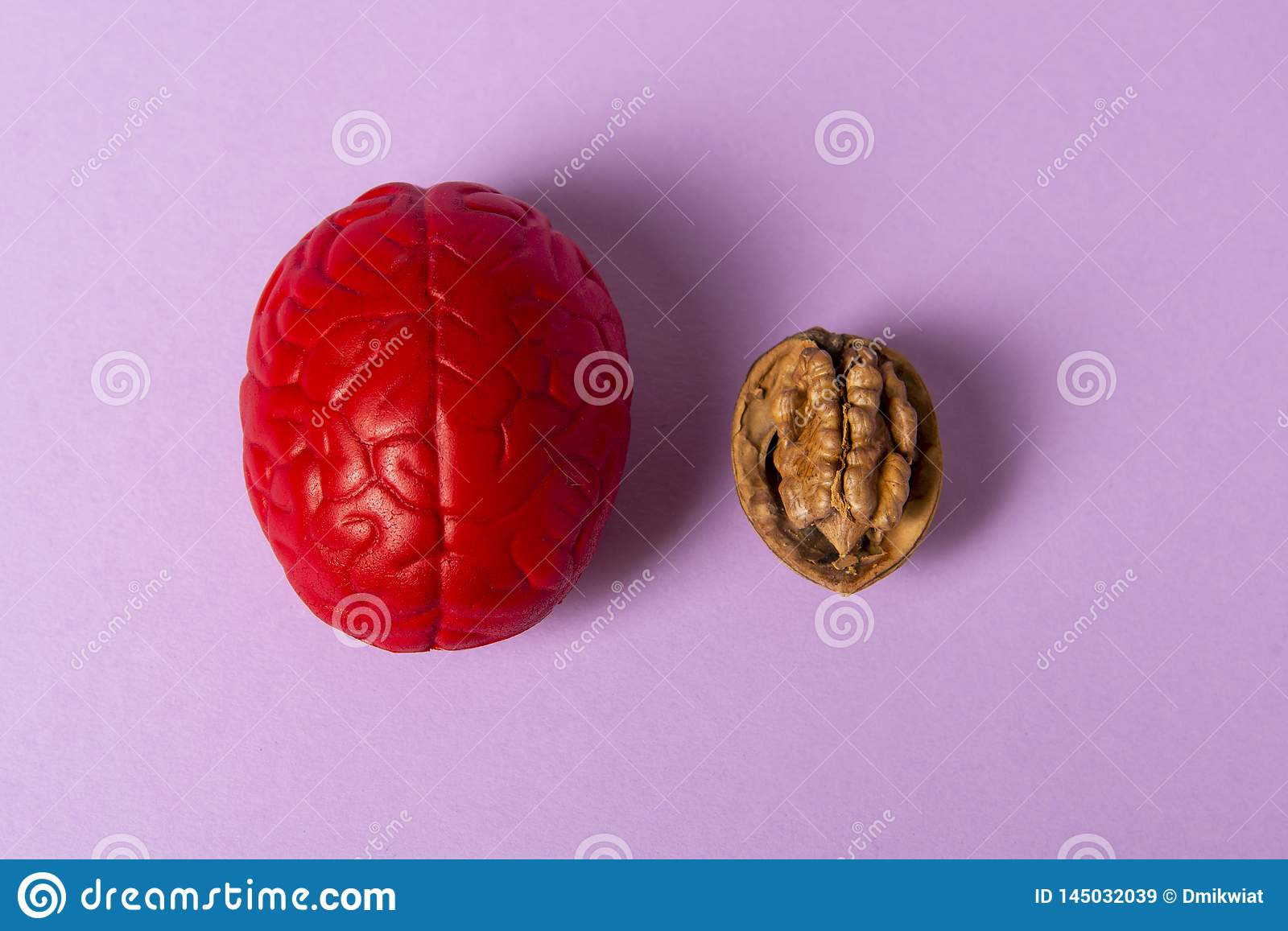 Walnut and brain mock up on pink background. The shape of the human brain is similar to walnut kernels. It symbolizes the