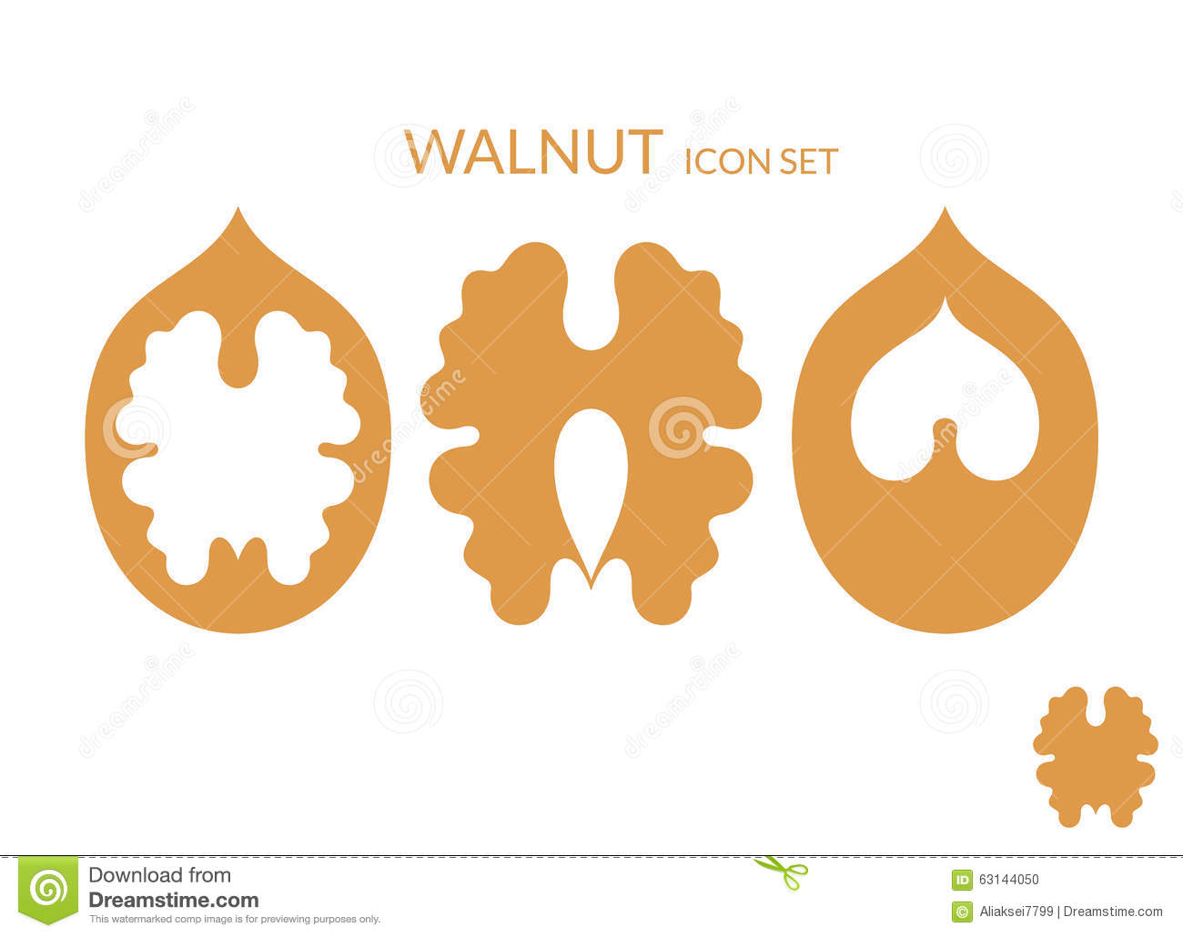 Walnut. Icon Set Stock Vector - Image: 63144050