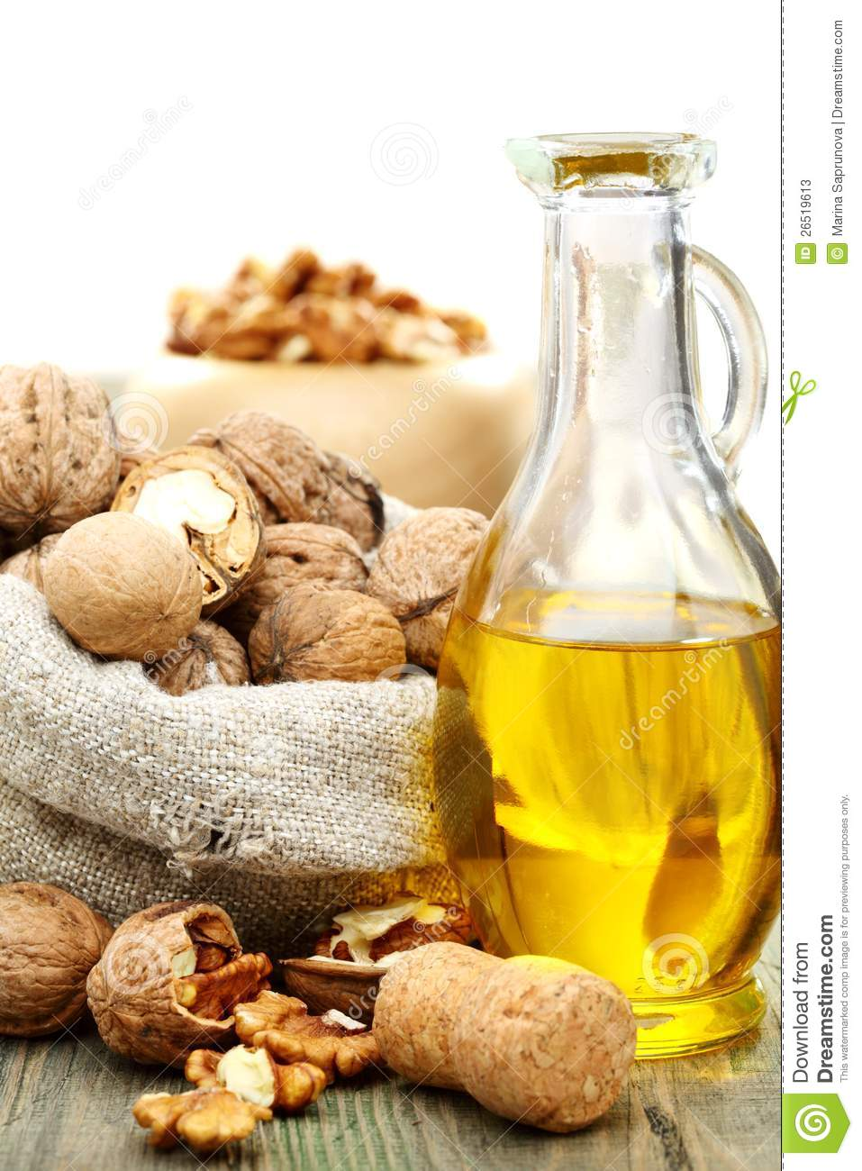 Walnut Oil And Nuts In A Bag Stock Photos Image 26519613