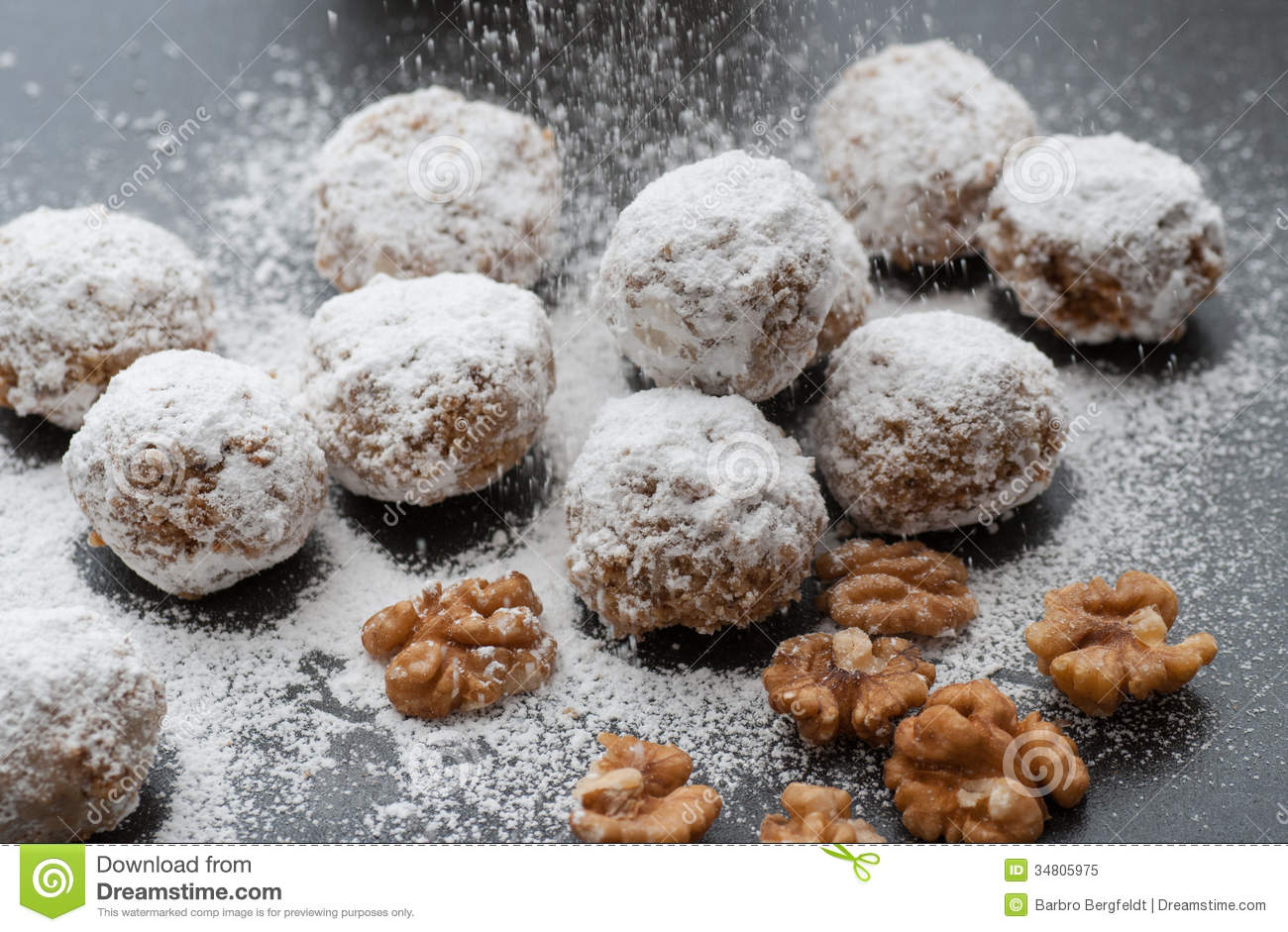 Walnut Snowball Cookies Stock Image Image Of Christmas 34805975