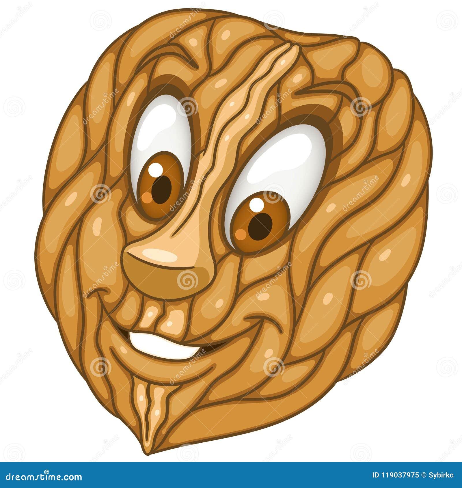 Cartoon walnut garden nut stock vector. Illustration of colorful ...