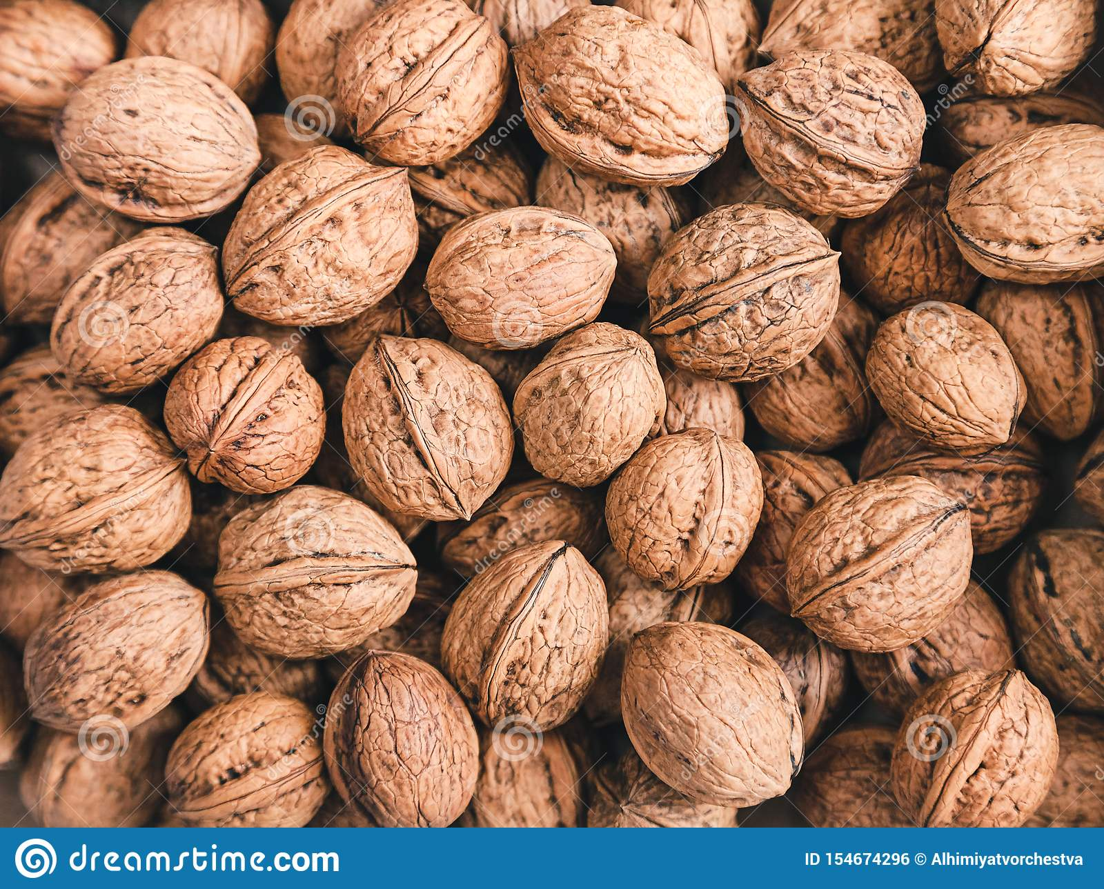Walnuts background a lot in the shell