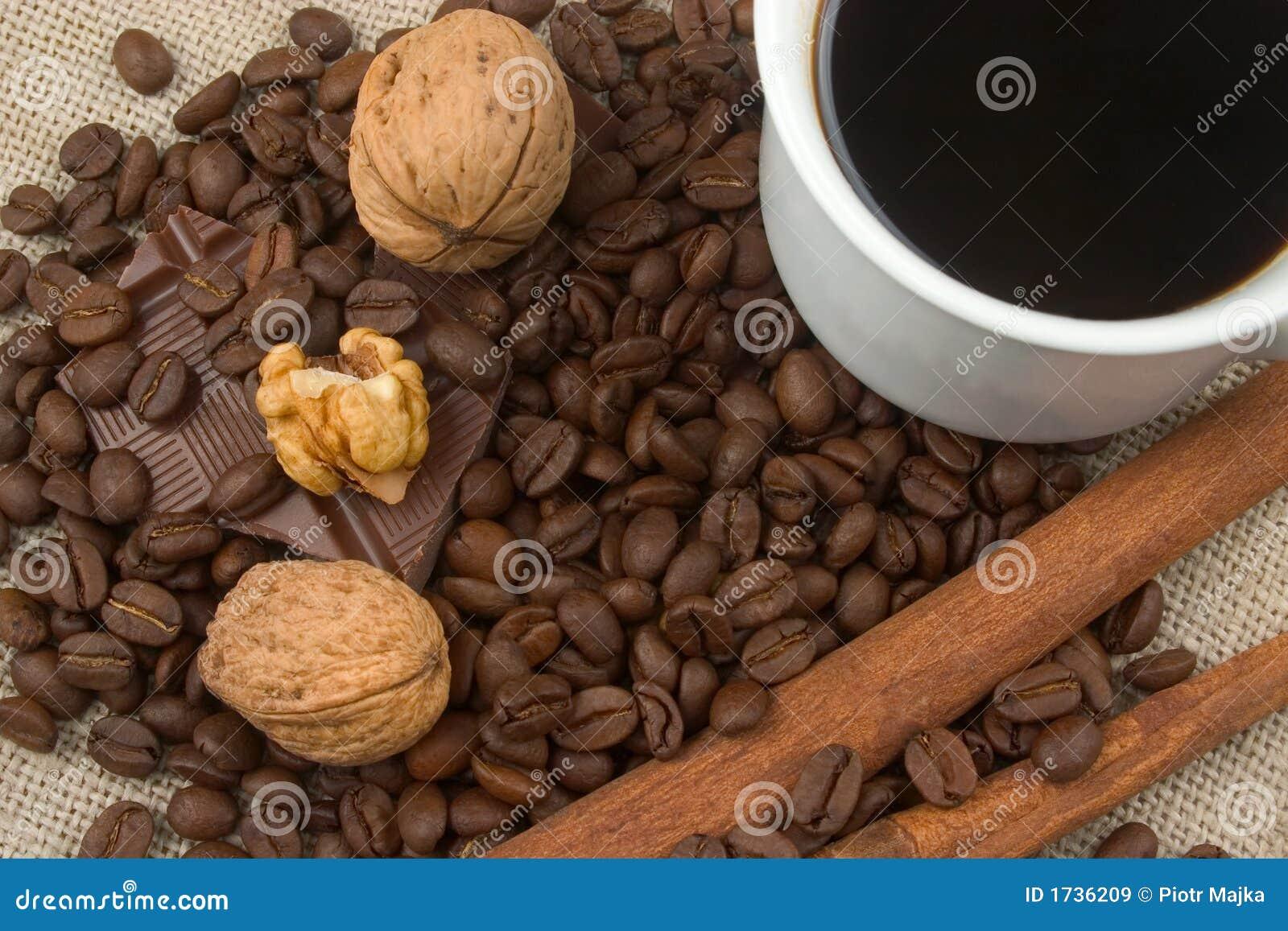 Walnuts, Coffee Beans,chocolate And Cinnamon Royalty Free ...