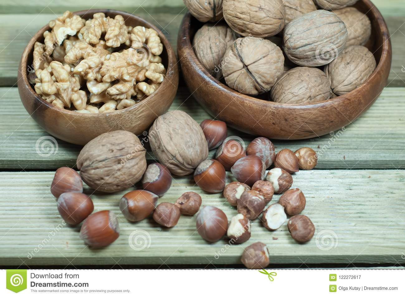 Walnuts, hazelnuts, peeled and inshell.
