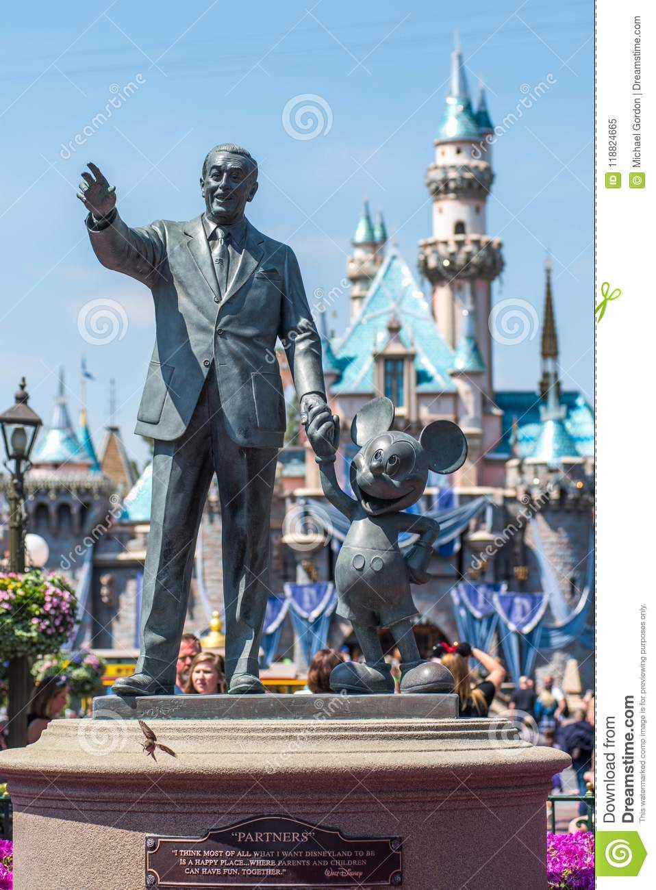 Walt Disney And Mickey Mouse Statue At Disneyland Editorial Image