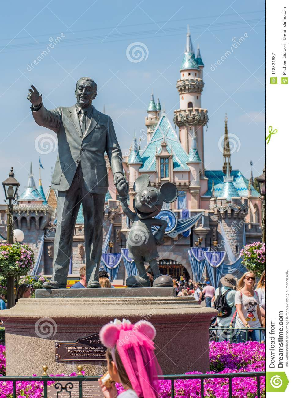 Walt Disney And Mickey Mouse Statue At Disneyland Editorial