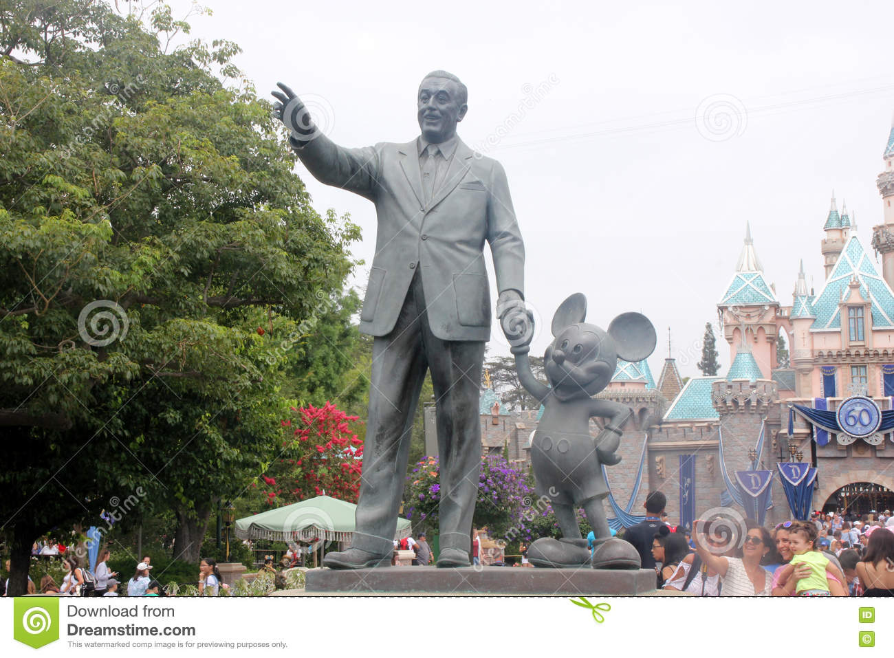 Walt Disney And Mickey Mouse Statue In Disneyland California