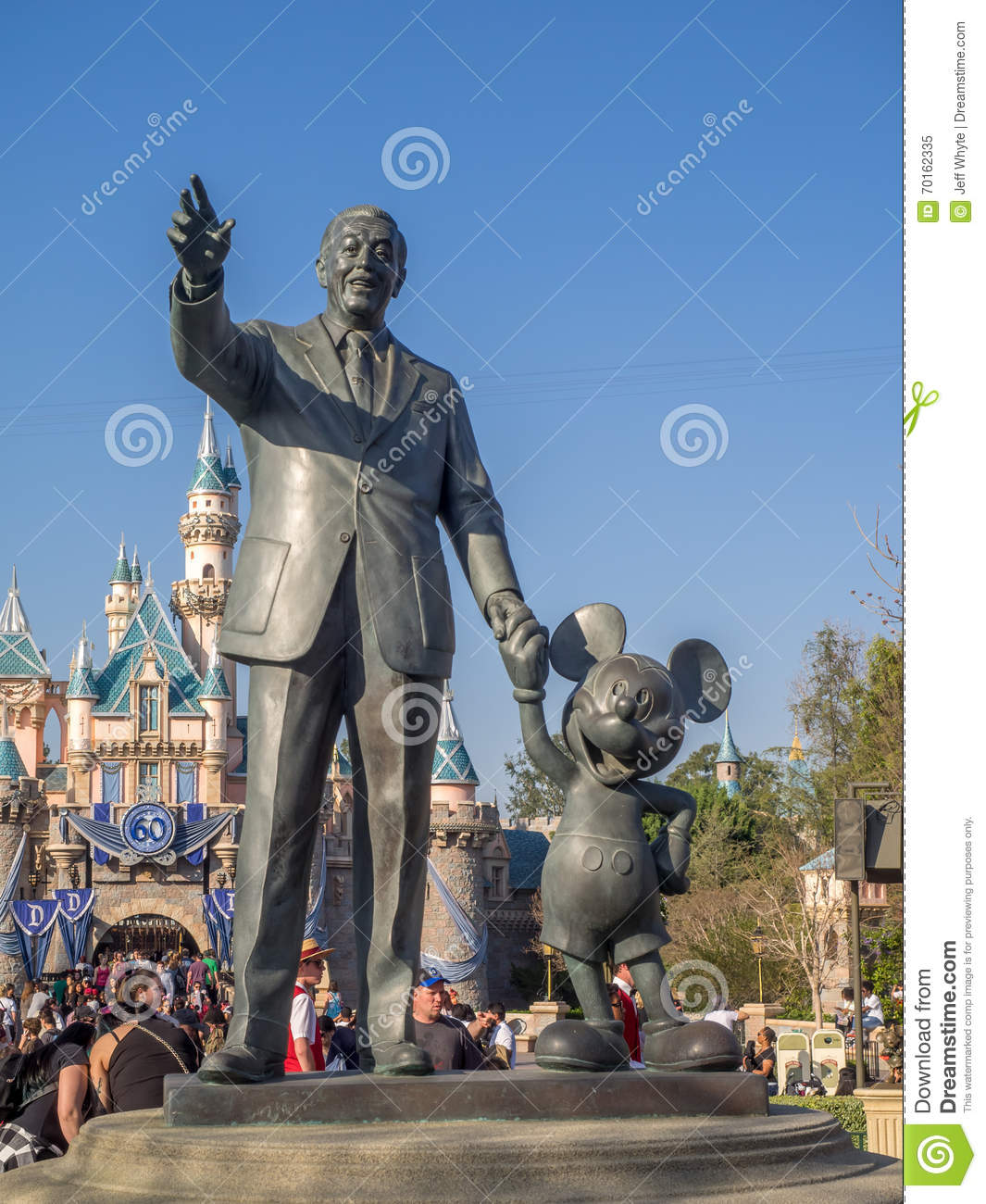 Walt Disney And Mickey Mouse Statue At The Disneyland Park Editorial